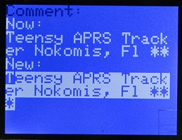 W2DEN APRS Tracker Comment Edit 1