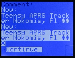 W2DEN APRS Tracker Comment Edit Continue