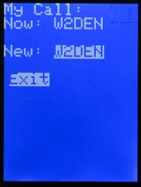 W2DEN APRS Tracker MyCall Edit Exit