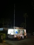 Our trailer early in the morning before the race.  You can see the mast and antenna of the Motorola we put up for race officials.  The ham radios used our 146.73 repeater.